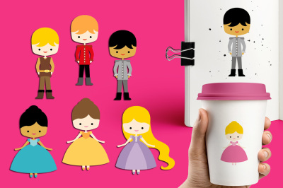 Cute Princess and Prince Charming Clipart