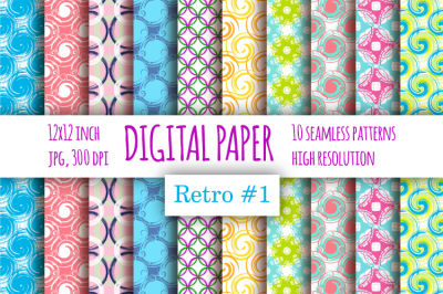 Retro digital paper with swirl pattern