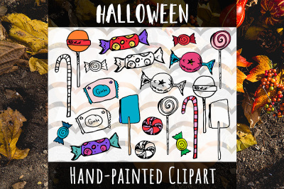 Halloween Candy Hand Painted sweets Clipart