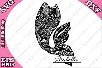 Zentangle Mermaid Tail Monogram Svg, MANDALA MERMAID SVG, Mermaid cut