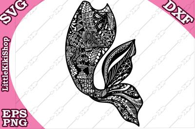 Zentangle Mermaid Tail Svg, MANDALA MERMAID SVG,Mermaid cut file,Cri