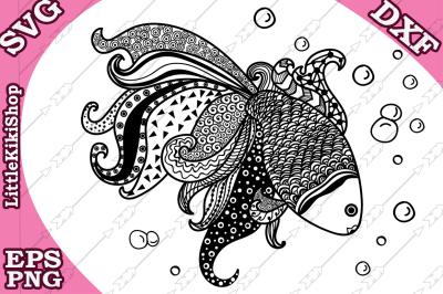 Zentangle Gold Fish Svg, MANDALA GOLD FISH, Zentangle Fish Svg