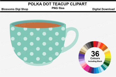 Polka Dot Teacup Clipart, multi colours, 36 PNG files