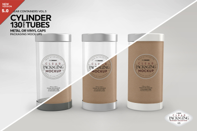 130mm Cylinder Tube Packaging Mockup