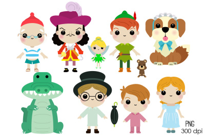 Cute Peter Pan Characters Clipart