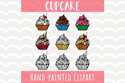 Cupcakes Clipart Set, Pastel Cupcakes, Digital Clip Art
