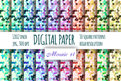 Mosaic rainbow digital paper. Stained glass paper