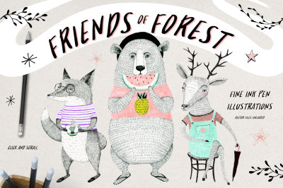 Friends of Forest Illustrations Set