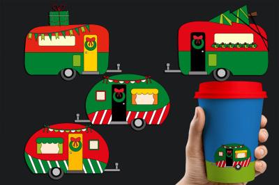 Christmas Happy Camper, Camping Caravan