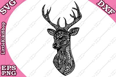 Zentangle Deer Head  Svg, MANDALA DEER SVG, Zentangle animal Svg