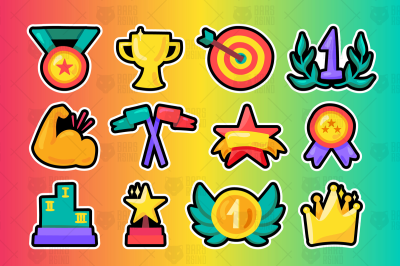 Sport Win Awards And Champion Symbols Set