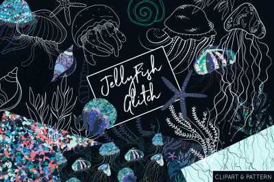 Jelly Fish Clipart and Pattern Collection - JellyFish Underwater