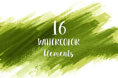 16 Green Watercolor Design Elements