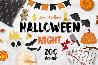 Halloween night BUNDLE + 200 ELEMENTS