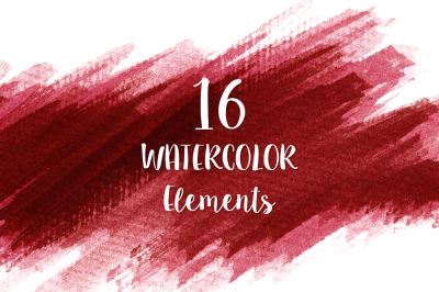 16 Red Watercolor Design Elements