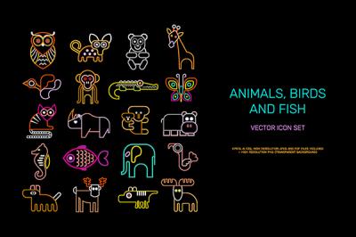 Animal Icons neon