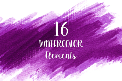 16 Purple Watercolor Design Elements