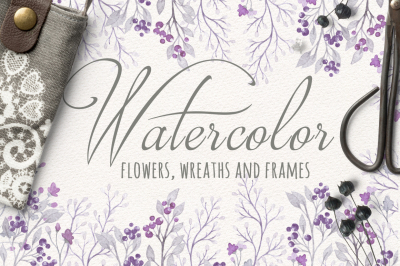 Purple Watercolor Floral Set