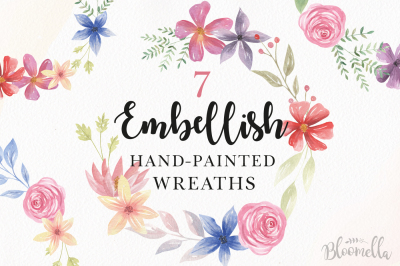 Embellish Watercolor Floral Flowers Garland Hand Painted Clipart Set
