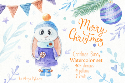 Christmas Bunny - Watercolor set