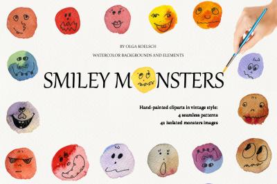 Smiley Monsters Watercolor Set