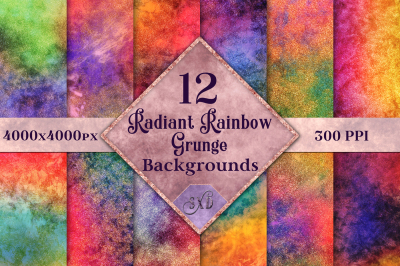 Radiant Rainbow Grunge Backgrounds - 12 Image Set
