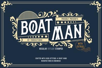 Boatman Font – 3 Styles + Extras