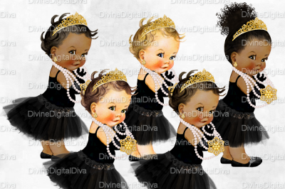 Tutu Vintage Baby Girl Set Audrey Hepburn Black & Gold