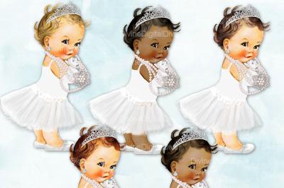 Tutu Vintage Baby Girl Set Audrey Hepburn White & Silver