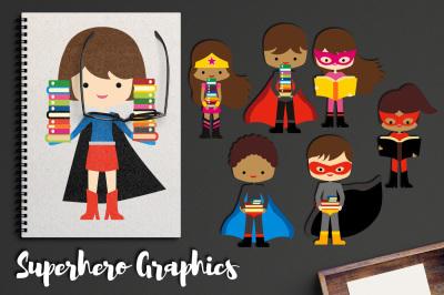 Superhero Holding Books, Brunette Kids