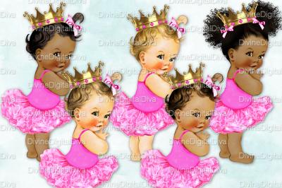 Vintage Baby Girl Set Ballerina Hot Pink & Gold