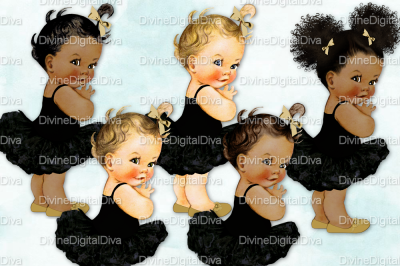 Vintage Baby Girl Set Ballerina Black & Gold