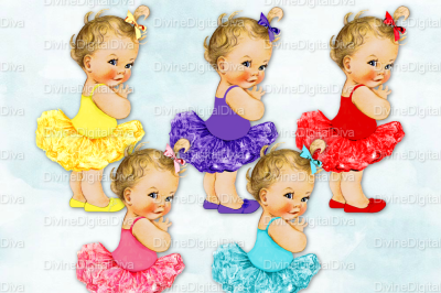 Tutu Vintage Baby Girl Set Bright Colors-Blonde