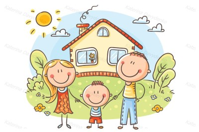 Happy cartoon family with one child near their house with a garden