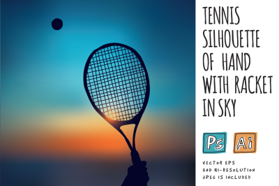 Tennis silhouette of hand with racket in sky