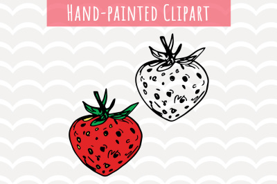 Strawberry Hand-painted Clip Art