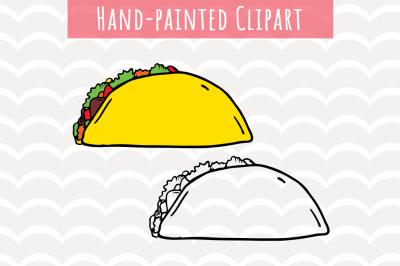 Taco Clipart, Mexican Food Clipart, Watercolor, Fun Taco