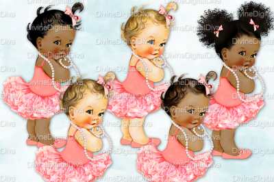 Vintage Baby Girl Set Ballerina-Coral & Pearls