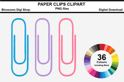 Paper Clips Clipart, multi colours, 36 PNG files