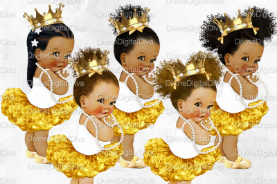 African Princess Baby Girl Set Ballerina White & Gold