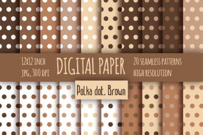 Polka dot brown digital paper