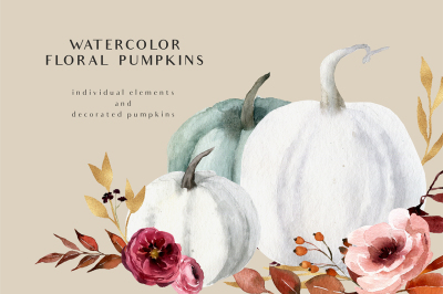 WATERCOLOR FLORAL PUMPKINS