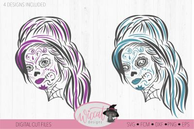 Woman Sugar Skull svg, Day of the dead, intricate svg