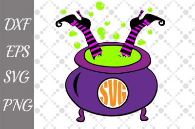 Halloween Svg, WITCH IN CAULDRON, Cauldron monogram Svg,