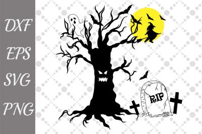 Spooky Tree Svg,HALLOWEEN SVG, Spooky Bats Svg,Witch Svg
