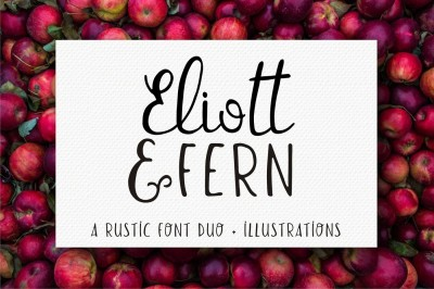Eliott and Fern rustic font duo + Farmhouse doodles