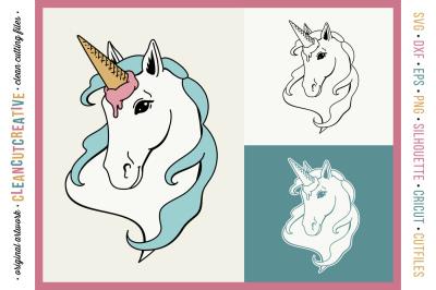 FUNNY UNICORN Ice Cream Horse - original cut file design SVG DXF PNG