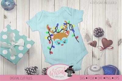 Hipster Reindeer with Christmas lights svg, Baby deer, kids svg, Doe c