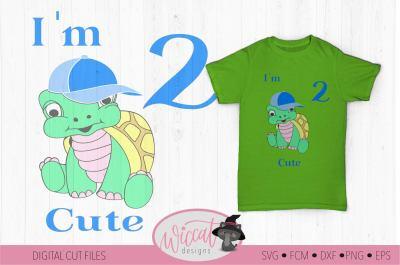 Birthday boy Turtle svg, I'm 2 cute,  Toddler Second birthday,