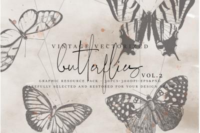 VintageVectorized - Butterflies2 Clipart